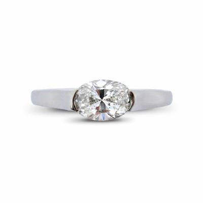 Oval Cut Single Stone Diamond Ring 0.78ct G SI2 GIA
